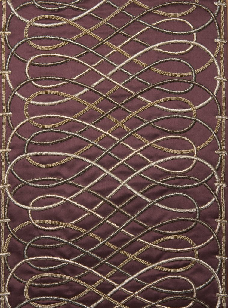 Beziers bespoke hand embroidered leading edge on Turnell & Gigon satin la tour