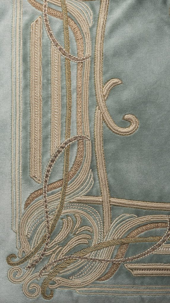 Chenonceau bespoke hand embroidered leading edge on silk velvet by Palestrina London