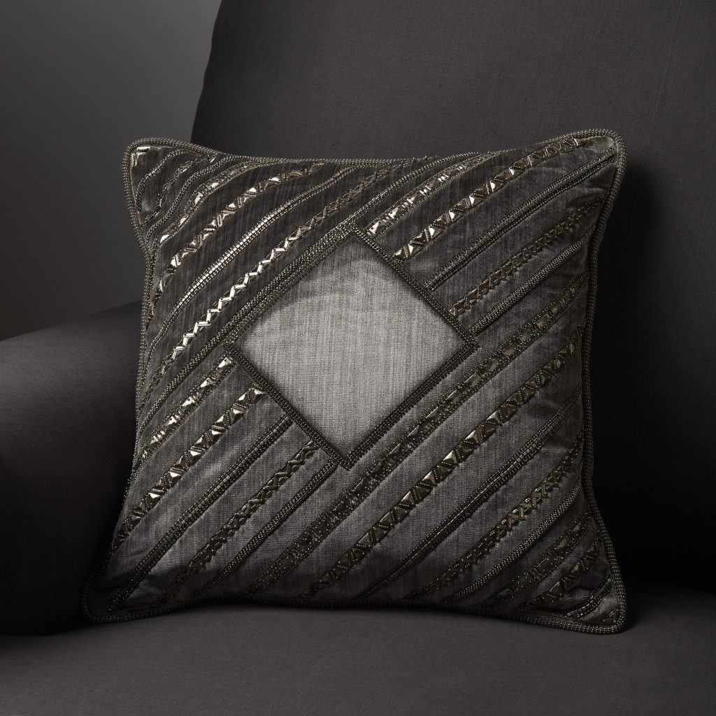 Cheverny bespoke hand embroidered cushion on Turnell & Gigon Vendome silk velvet