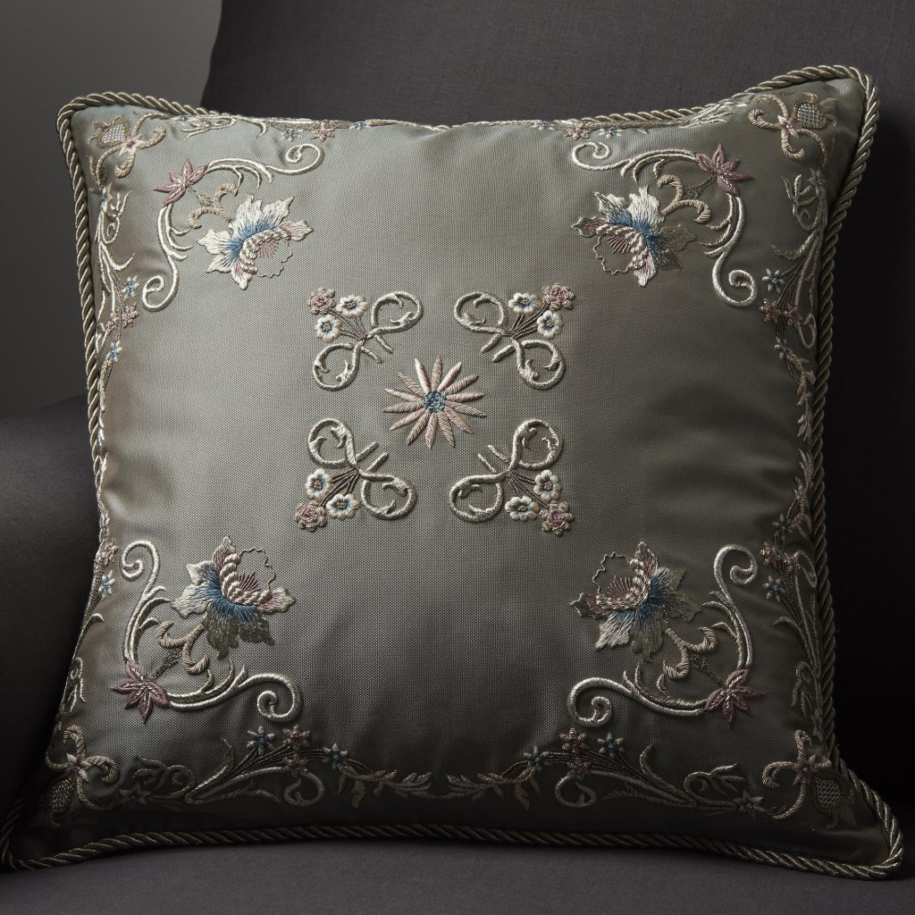 Montpelier bespoke hand embroidered cushion on Turnell & Gigon Clarissa silk