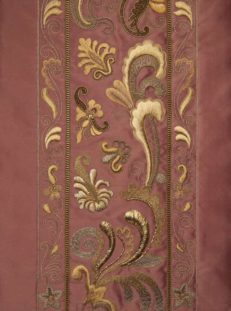 Marcon bespoke hand embroidered decorative border on Turnell & Gigon taffeta ninon