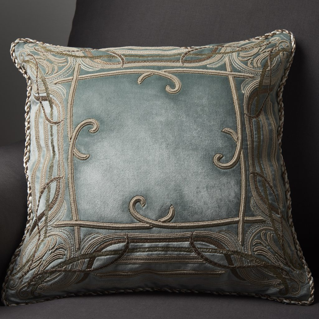 Chenonceau bespoke hand embroidered cushion on Turnell & Gigon Elysee silk velvet