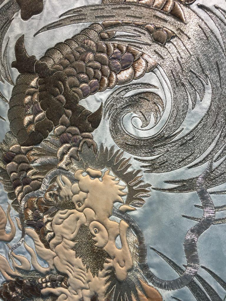 Palestrina London - Chamarande bespoke hand embroidered design on Turnell & Gigon velvet