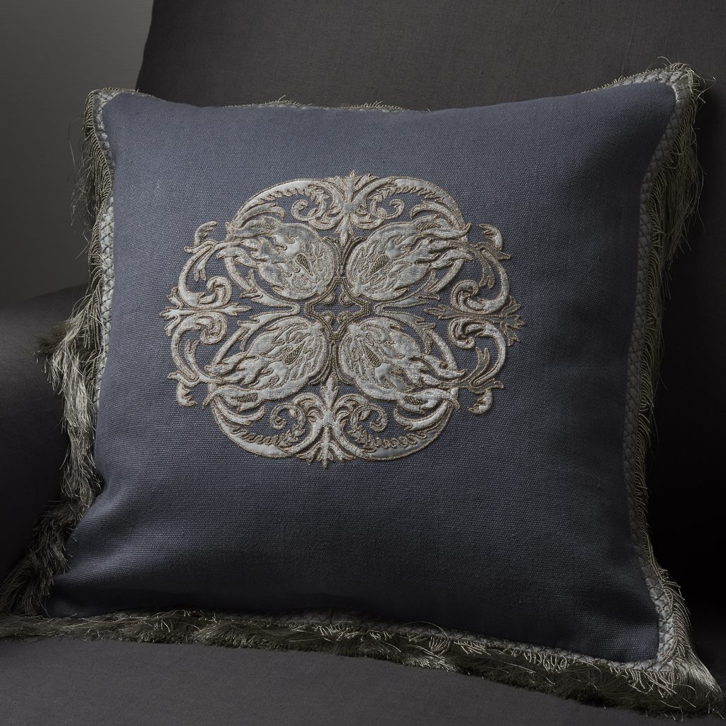 Troussay bespoke hand embroidered cushion on Turnell & Gigon Dressy linen